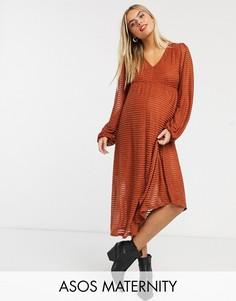 Платье миди в полоску ASOS DESIGN Maternity-Красный