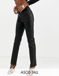 Черные джинсы слим с покрытием и завышенной талией ASOS DESIGN Tall-Черный
