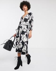 Платье миди с цветочным принтом и запахом Gestuz-Темно-синий