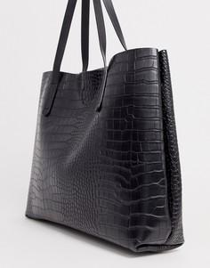 Черная сумка-тоут с рисунком крокодиловой кожи Claudia Canova-Черный