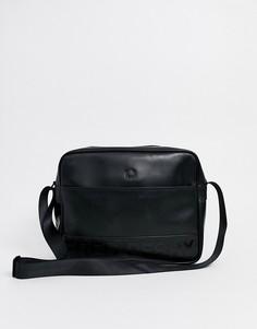Черная сумка на плечо из тисненой искусственной кожи Fred Perry-Черный