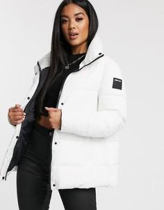 Дутая куртка А-силуэта с логотипом на спине Replay-Белый