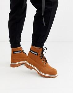 Замшевые ботинки рыжего цвета на шнуровке с вельветовой фактурой CAT-Коричневый