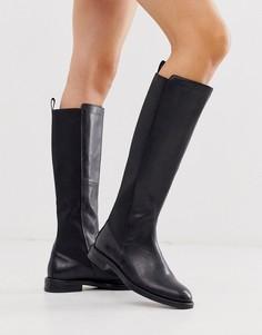 Черные высокие кожаные сапоги на плоской подошве Vagabond Amina-Черный