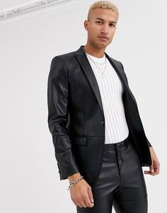 Черный пиджак из искусственной кожи River Island