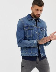 Выбеленная джинсовая куртка ASOS DESIGN-Синий