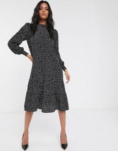 Черное приталенное платье миди с принтом Vila-Черный