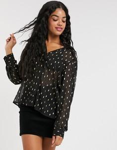 Черная шифоновая блузка в золотистый горошек Pimkie-Черный