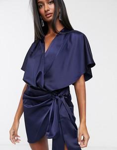 Платье-кимоно мини с запахом и поясом ASOS DESIGN-Темно-синий