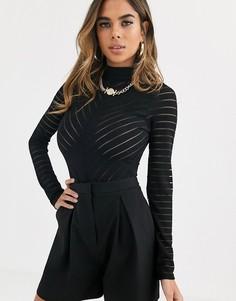 Полупрозрачное боди с шевронным рисунком Missguided-Черный