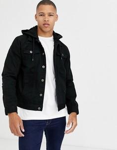 Джинсовая куртка с капюшоном Brave Soul-Черный