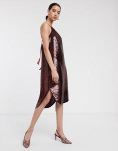 Платье с американской проймой и пайетками Soaked In Luxury-Красный