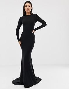 Черное платье макси с годе Club L London-Черный