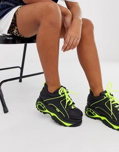 Черные классические кроссовки с неоновой отделкой Buffalo London-Черный