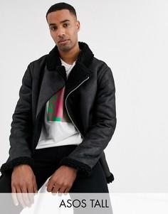 Черная байкерская куртка из искусственной овечьей шерсти с подкладкой из искусственного меха ASOS DESIGN Tall-Черный