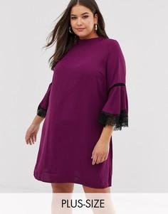 Свободное платье с кружевной отделкой Lovedrobe-Фиолетовый