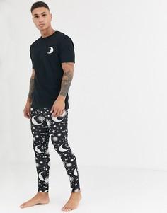 Черный пижамный комплект из меггинсов и футболки с принтом ASOS DESIGN