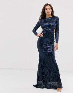 Платье макси с открытой спиной и пайетками Club L London-Темно-синий