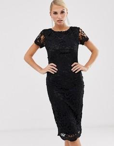 Кружевное облегающее платье с короткими рукавами AX Paris-Черный