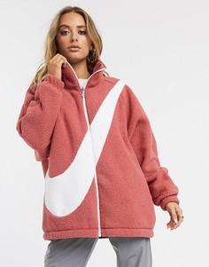 Розовая двусторонняя куртка с крупным логотипом-галочкой Nike-Розовый