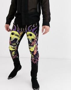 Черные супероблегающие джинсы с флуоресцентным принтом черепа ASOS DESIGN-Черный