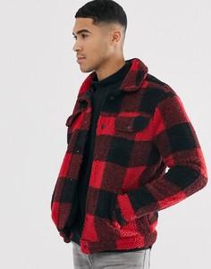 Красная куртка в клетку из искусственного меха Brave Soul-Красный