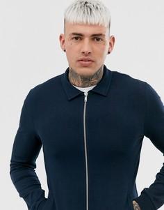 Темно-синяя облегающая трикотажная куртка Харрингтон ASOS DESIGN-Темно-синий