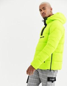 Неоново-зеленая дутая куртка Sixth June-Зеленый