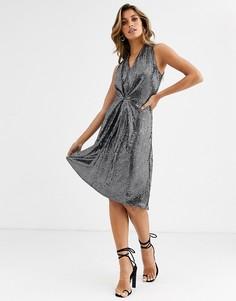 Серебристое короткое приталенное платье Closet-Серебряный
