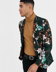 Темно-зеленый супероблегающий пиджак с принтом цветов и цепочек ASOS DESIGN