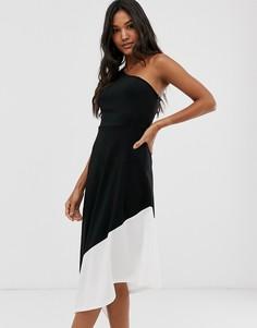 Платье на одно плечо в стиле колор блок с асимметричным краем AX Paris-Черный