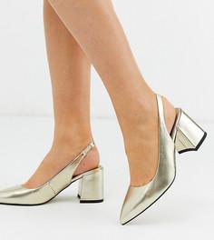 Туфли на каблуке для широкой стопы с ремешком на пятке ASOS DESIGN Samson-Золотой