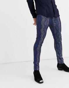 Синие супероблегающие джинсы со змеиным принтом ASOS DESIGN-Синий