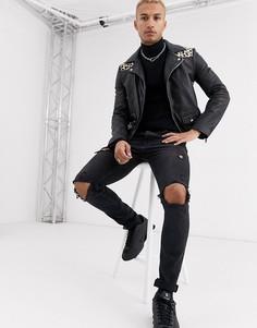 Кожаная байкерская куртка с леопардовым принтом на кокетке Bolongaro Trevor-Черный