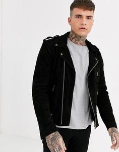 Замшевая байкерская куртка Bolongaro Trevor-Черный