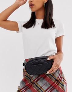 Черная стеганая сумка-кошелек на пояс Claudia Canova-Черный