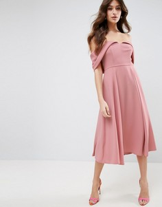 Платье миди для выпускного с открытыми плечами и отворотом ASOS-Розовый
