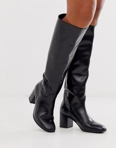 Черные кожаные сапоги на среднем каблуке Vagabond-Черный