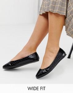 Черные балетки для широкой стопы с эффектом крокодиловой кожи ASOS DESIGN Lassie-Черный