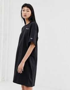 Oversize платье-футболка с логотипом на груди Champion-Черный
