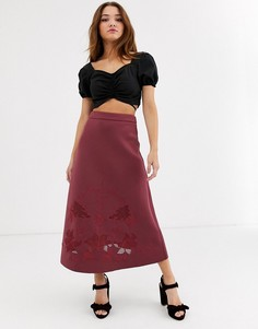 Юбка миди с вышивкой ASOS DESIGN-Красный
