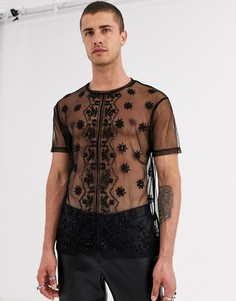 Черная сетчатая футболка с отделкой бисером ASOS DESIGN-Черный