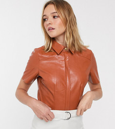 Рубашка из мягкой искусственной кожи Glamorous-Коричневый