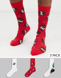 Набор из 3 пар новогодних носков с принтом динозавров ASOS DESIGN - Скидка-Мульти