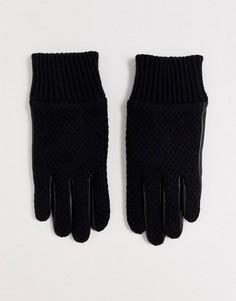 Черные шерстяные перчатки с кожаными вставками и вязаными манжетами Dents Ashford-Черный