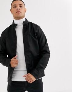 Черная байкерская куртка из искусственной кожи Tom Tailor-Черный