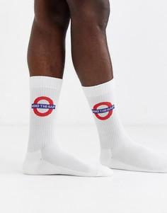 Белые спортивные носки с принтом ASOS DESIGN-Белый