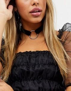 Черное бархатное ожерелье-чокер с кольцом ASOS DESIGN-Черный