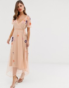 Платье с запахом и короткими рукавами Frock & Frill-Розовый