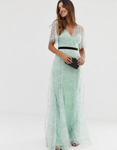 Кружевное платье макси с контрастным поясом Forever U-Зеленый